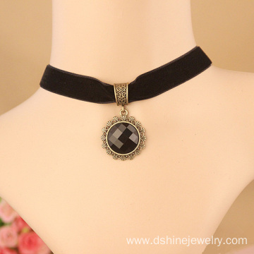 Black Velvet Neck Choker With Black Stone Pendant Necklace